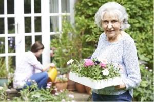 Mature woman enjoying gardening