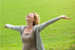 Woman with feeling of wellbeing